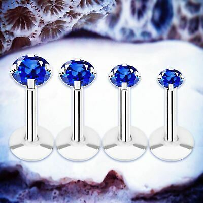 SPARKLE Blue Crystal Labret Piercing Cartilage Earring Tragus Bar Lip Ring Helix