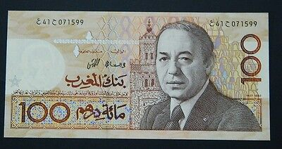 1987/AH1407 MOROCCO MARRUECOS 100 DIRHAMS Pick 62 b UNC - grapa