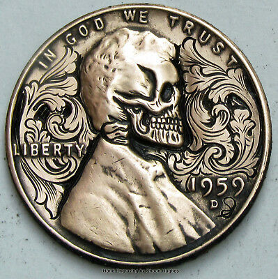 Oak Scrollwork Skull 1959 Hand Engraved Lincoln Cent Hobo Nickel by Shaun Hughes