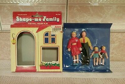 Vtg Dolls for Doll House 4 piece Family Completely Bendable New In Original Box