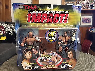 TNA Americas Most Wanted Tag Team Set SIGNED / Toy Biz VERY RARE WWE NXT ROH