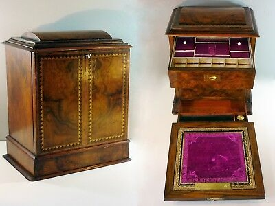 Rare Antique Rosewood Inlaid Locking Writing/Jewellery Table Cabinet
