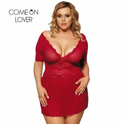 WOMEN'S LINGERIE Sexy Plunge Neckline Plus Size Baby Doll Style Night Dress