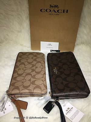 NEW COACH Double Zip Signature Wristlet/Wallet F54057 Khaki/Saddle or Brown/BLK