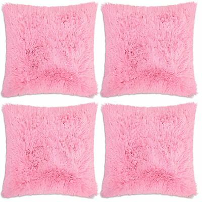 "4 x Pink Faux Fur Soft & Cuddly Shaggy Cushion Cover 17x17"" (43x43cm)"