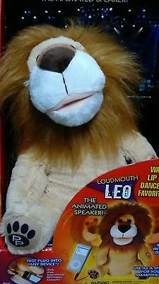 Loudmouth Leo the Lion Animated Speaker Lip Syncs/Dances Plugs N2 any 3.5mm  NIB