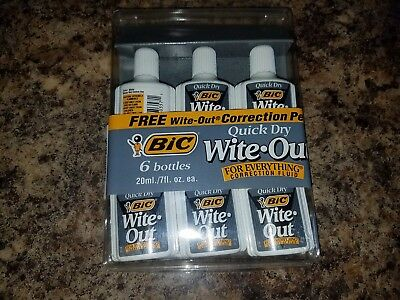 Bic Wite-Out Quick Dry Correction Fluid, 20ml Bottle, White 6 Count
