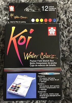 Genuine Koi Watercolours Pocket Field Sketch Box - 12 Colours-Assorted