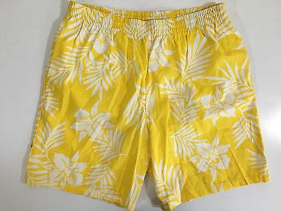 Vtg 80's WEEDS Men YELLOW FLORAL Cotton SURF Board Shorts Swim Trunks L 36-38