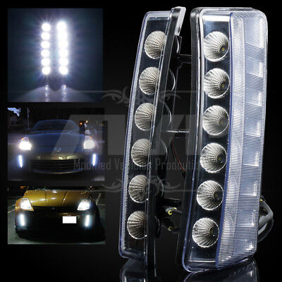 For 03-05 Nissan 350Z Clear LED Daytime Running DRL Bumper Reflector Lights Lamp
