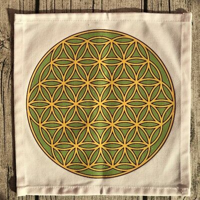 Crystal Grid Cloth - Green & Yellow Flower of Life
