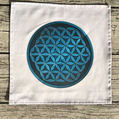 Crystal Grid Cloth - Blue Turquoise Flower of Life