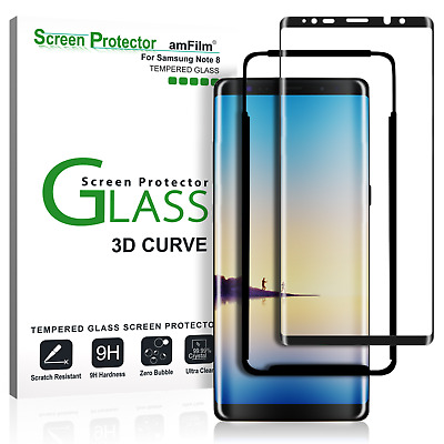 Samsung Galaxy Note 8 amFilm Full Cover Tempered Glass Screen Protector (Black)