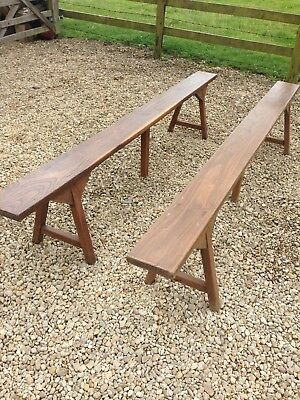 A Pair Of Antique Narrow Benches / French Fruit Pickers Bench