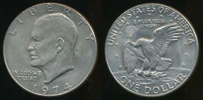 United States, 1974-D One Dollar, $1, Eisenhower - almost Uncirculated