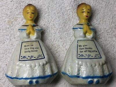 Vintage Salt and Pepper Shakers Colonial Women in Prayer Grace Thanks Hong Kong