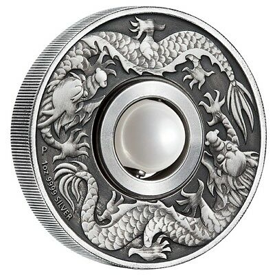 2017 $1 Dragon and Pearl Rotating Charm - 1oz Silver Antique Coin - Perth Mint