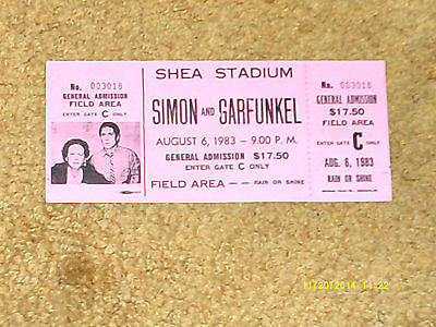 Simon and Garfunkel concert ticket 8/6/83 SHEA STADIUM, NY (NM shape)