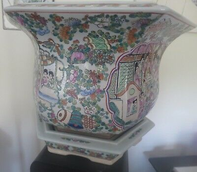 Vintage Hexagon Oriental Planter with base