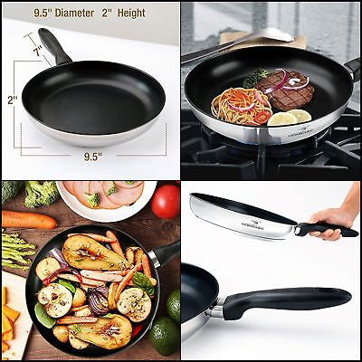 Mirror Polished 9.5Stainless Steel NonStick Frying Teflon Pans(PFOA FREE)Kitchen