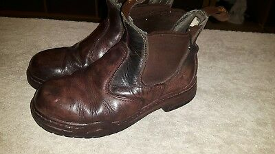 mountain horse brown leather steel toe yard boots size 5