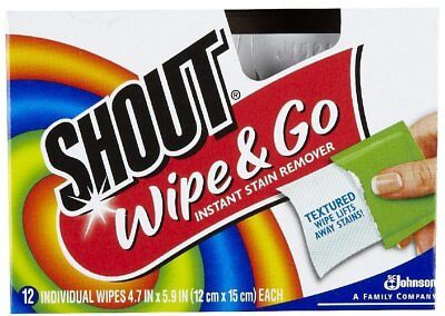 Shout Wipe & Go Instant Stain Remover, 12 Textured Wipes