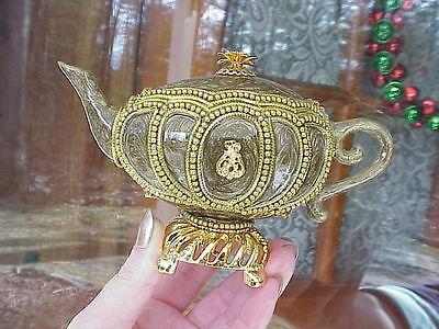 REAL Goose Egg Decorated Tea Pot Trinket/Jewelry/Keepsake Music Box Gift .