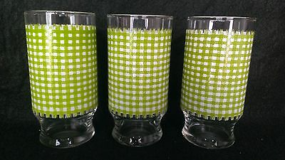 3 Piece Vintage Green White Gingham Check Drinking Glasses Tumblers 6 Inches