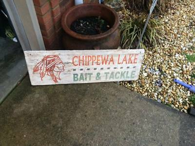Chippewa Lake Bait and Tackle Indian Wooden Sign GAS OIL SODA FISHING