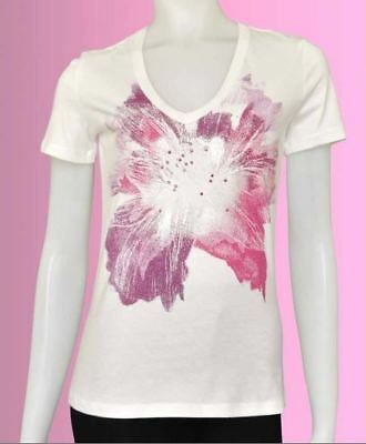 Womens T-Shirt V-Neck Short Sleeve White Graphic Diamante Flower