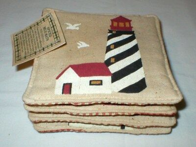 Set of 4 Alice's Cottage Spiced Mug Mats Coasters - Lighthouse - New