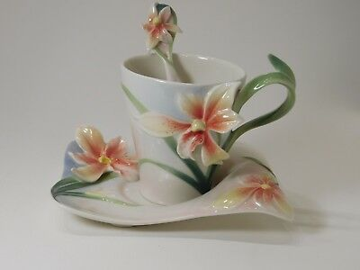 FZ02901 Franz Porcelain Four Seasons orchid cup saucer spoon set . New in box