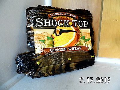 Handmade Rustic Wooden Shock Top Ginger Wheat Bar Sign/Key Holder Original 2017