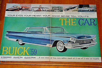 Eye Catching 1959 Buick Electra 4 Dr Ht Flatop Large Ad / Vintage 50S Fifties