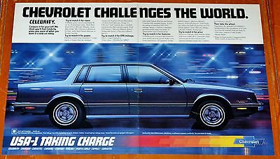 Large 1982 Chevy Celebrity Sedan In Blue Ad - Retro American 80S Vintage