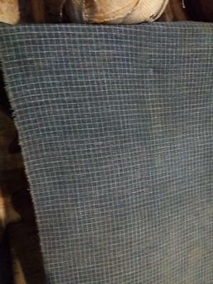 "Antique Tiny Check Indigo Blue Calico Fabric Primitive Faded  Grunge 24.5"" x 14"""