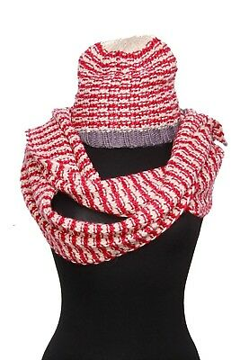 Ladies Scarf & Hat Set Red White Grey Great Gift Winter Warmer Christmas (S65)