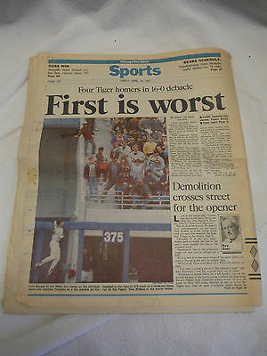 Chicago Sun-Times Newspaper April 19 1991 White Sox Tigers 16-0 Comiskey Opening