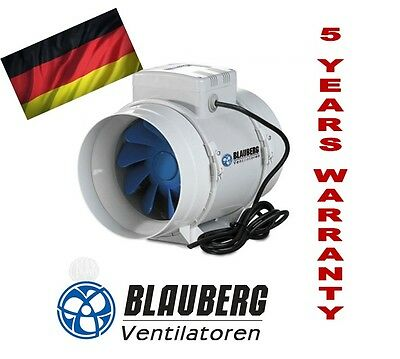 BLAUBERG TURBO 125mm INLINE FAN BATHROOM EXHAUST VENTILATION HYDROPONIC FANS AIR