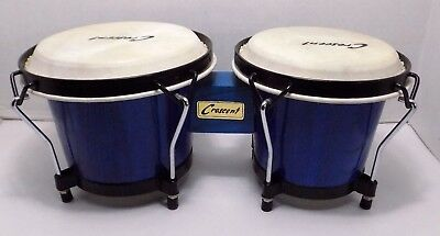 Crescent Wood Bongos Drums Tabletop Blue Percussion Circle Folk World Music Art