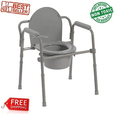 Chair folding steel commode help elderly seat toilet portable w/ bucket camping