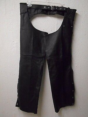 Genuine Leather BLACK MOTORCYCLE CHAPS men's XXL Braided Accents