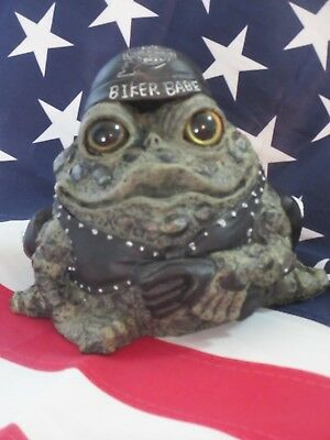 "LEATHER CLAD ""HOT MOM-MA"" BIKER TOAD Figurine From TOAD HOLLOW CYCLE WORKS"