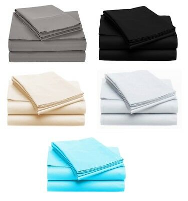 1000TC Egyptian Cotton King,Queen,Double,KS,Single Size Bed Sheet Set. 4 Pieces
