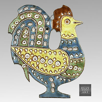 VTG Rooster BITOSSI Style Wall Tile Sgraffito Ceramic MCM Signed Dominique Perot