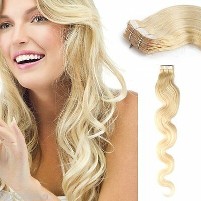 Body Wavy Seamless Tape In Weft Remy Human Hair Extensions Platinum Blonde 20Inc