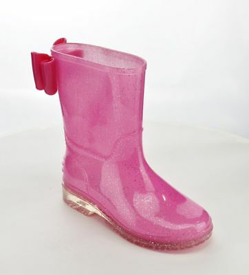 JB Girls' Size Waterproof Glitter Rain Boot with the bow on the back