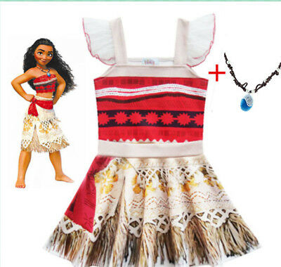 US STOCK !  Moana Kids Girls Party Dress Skirts Lovely Birthday Dress  O50