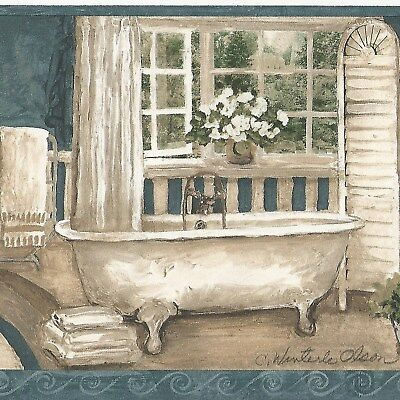 Canada$ - Antique Bathtub & Furniture - 45 feet ONLY $15 Wallpaper Border CR
