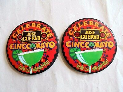 2 Vintage 1993 Jose Cuervo Celebrate Cinco de Mayo Advertising Pinback Buttons